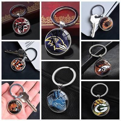 Silver Tone Football Keychain (NFL American Football Keychain Silver Keyring Pendants Glass Keychains)