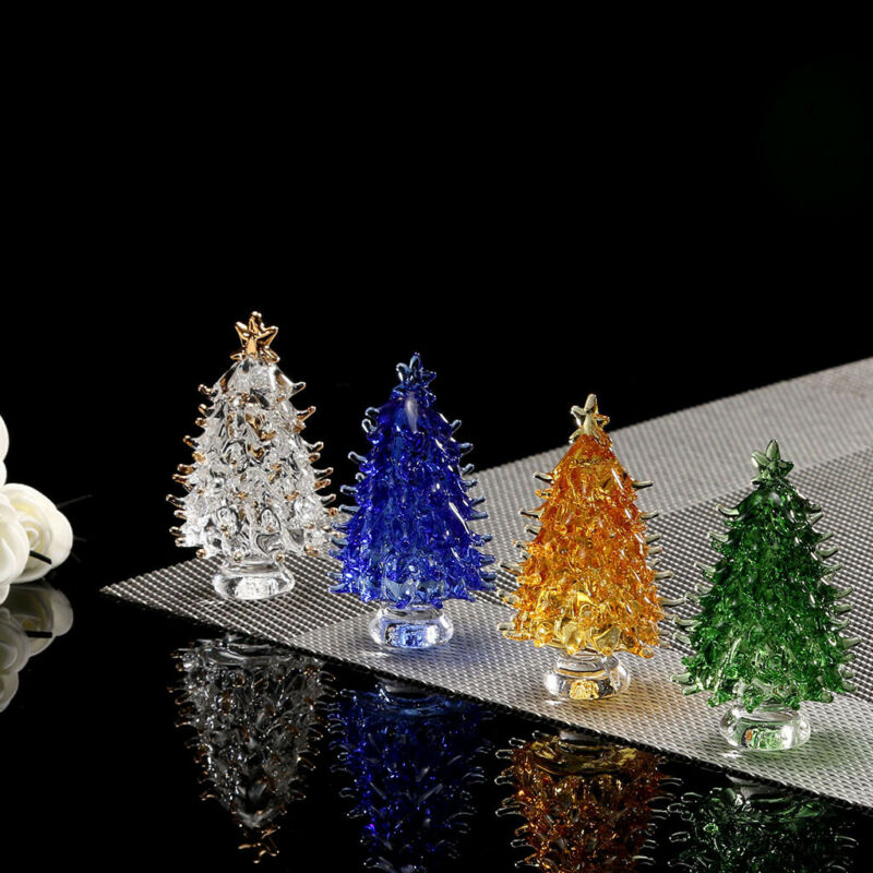 Crystal Glass Christmas Tree Festival Home Party Ornaments X