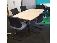 Boat Shaped Boardroom Table and Chairs