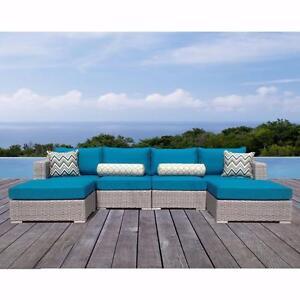 Sirio (MS069) Niko Peacock Ensemble sofa extérieur 6 pièces Bleu turquoise