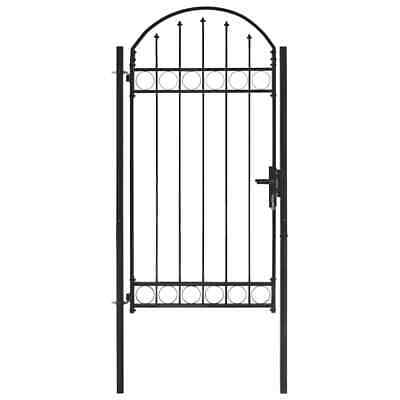 vidaXL Fence Gate with Arched Top Steel 100x250cm Black Patio Barrier Gate