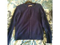 Charles Tyrwhitt cashmere merino wool blend size 6 blue/navy/royal/dark cardigan