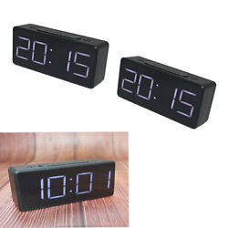 3pcs Digital Electric Clock Student Alarm Clock Mirror Alarm Clock Bedside Black