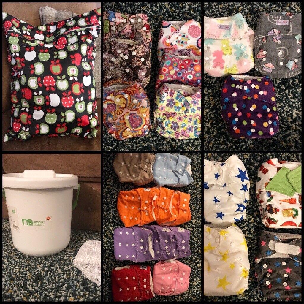 Reusable/ cloth nappies LARGE bundle + accessories inc. 40 nappies, 24 prefolds, 6 wraps