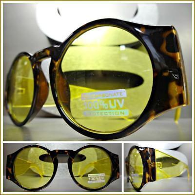 Klassisch Retro-Stil Sonnenbrille Groß Dick Rund Landschildkröte & Gelb Rahmen