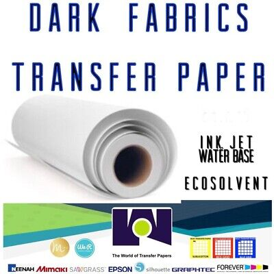 Dark Fabrics Ink-jet Ecosolvent Heat Transfer Paper Roll 24x10
