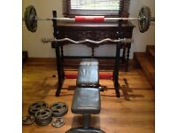 Full Olympic Weights Set / Barbells / Bench / Rack / Plates