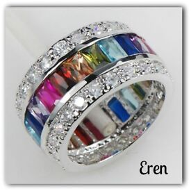 Stunning Sterling Silver Multi-Coloured Simulated Gemstone Ring..Was £39.99 Now Only £29.99
