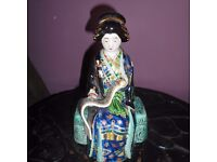 Japanese Kutani Figure Of A Seated Geisha