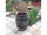 Oak barrel coal bunker,garden,patio