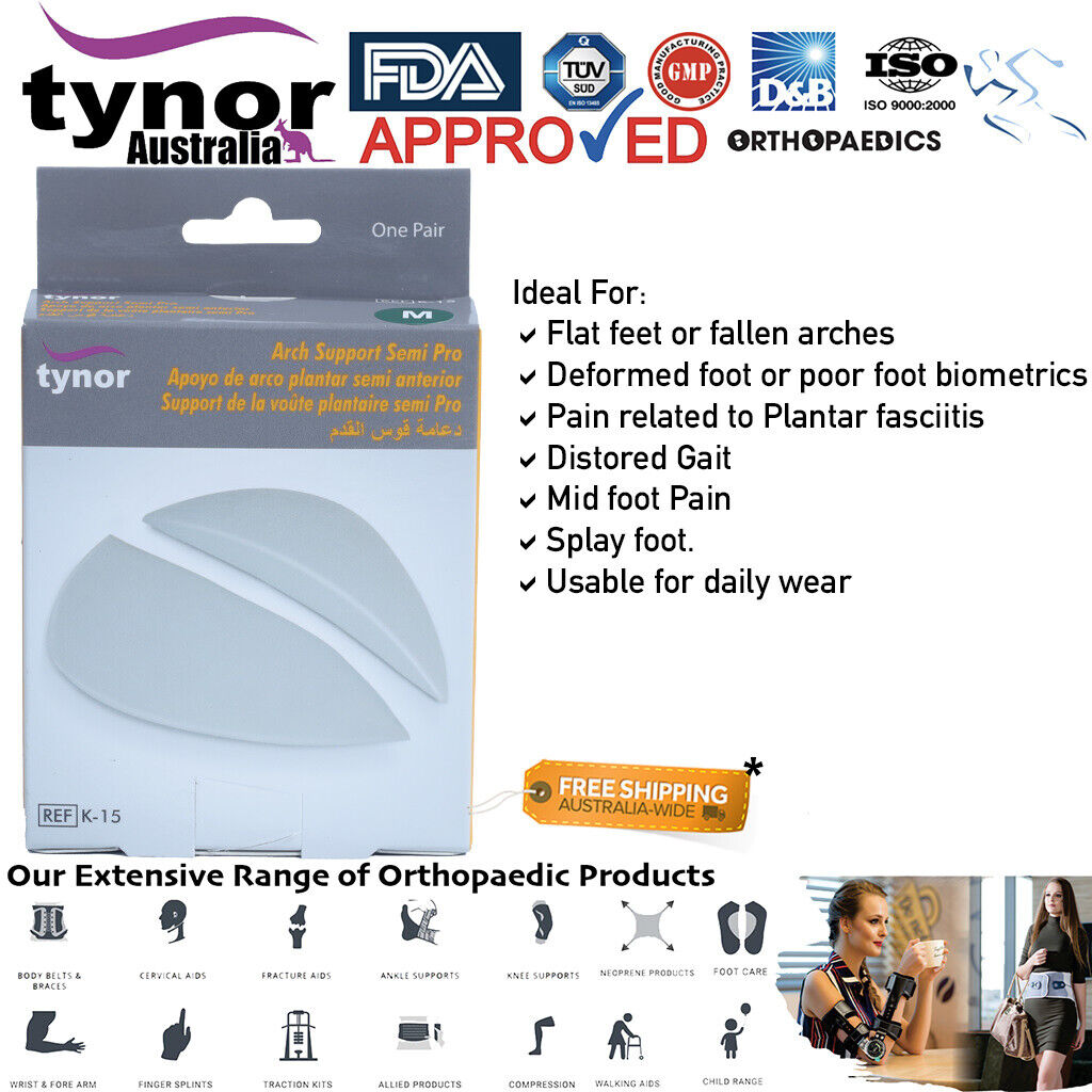 Tynor™ Arch Support Insoles Foot Pain Relief Plantar Fasci