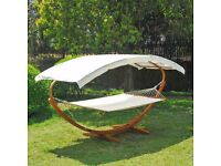 Wooden Canopy Double Hammock Bed