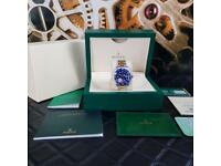 KING FACTORY Rolex Submariner Silver Blue Face - Complete Set Box And Papers 1 Year Free