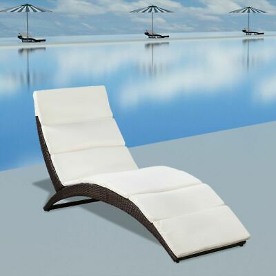 Folding Chaise Lounge Chair Rattan Sun Lounger Patio Outdoor Furniture Recliner Chaise Folding Recliner