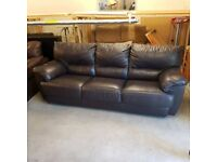 Real Italian leather 3 seater sofa and armchair
