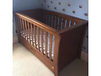 Cot/Bed, Wardrobe, Drawers, Bookcase Mamas & Papas Dark Oak Furniture Range