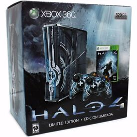 X box 360 halo 4 limited edtion comes with 2 controllers but one battery pack.plus halo 4 game.BOXED