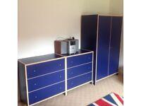 Full set of blue bedroom furniture