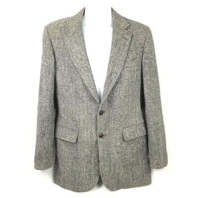 Hebrides Scotland Harris Tweed Mens Blazer Gray Handwoven Sport Coat USA 40 R