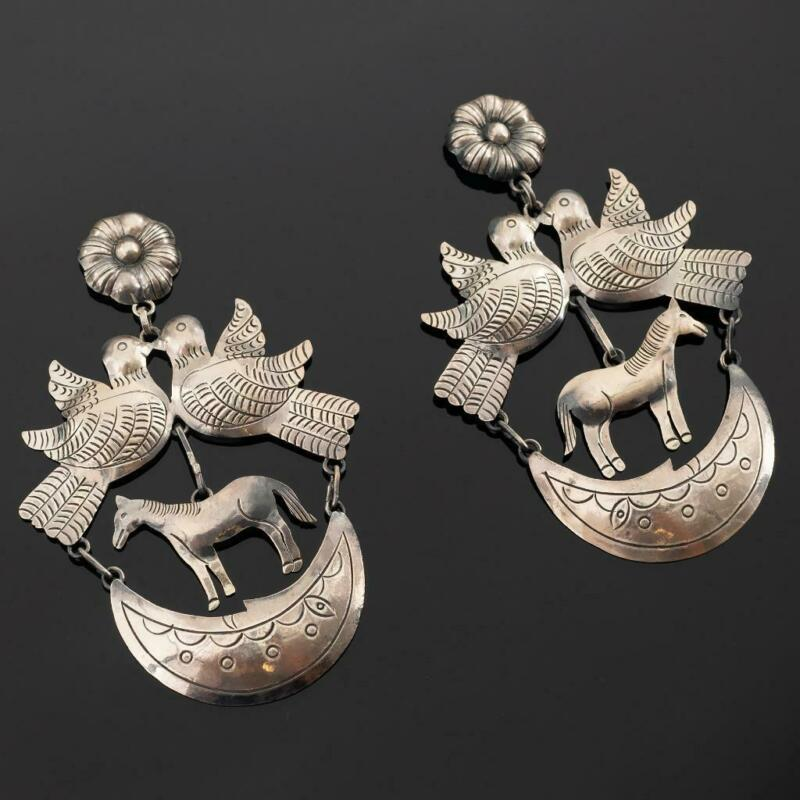 "FEDERICO JIMENEZ Earrings Turquoise ""Wedding Horse"" Sterling Silver FRIDA KHALO"