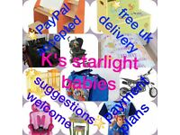 Clothing, toys, accessories, quads (adult and children's) bedding (adults and children's)