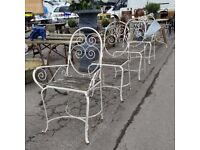 Vintage French Garden Chairs Rustic Decorative Metal Frame & Teak Seats