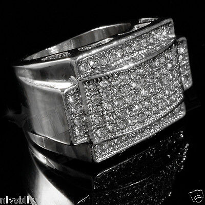 14K White Gold Plated Band Micropave Cz Aaa Mens Hip Hop Iced Out Pinky Ring