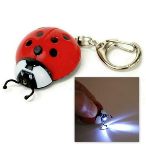 LED LIGHT KEYCHAIN LADYBUG Red Lady Bug Beetle Animal Keychain Key Chain Ring