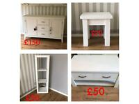 Solid oak furniture painted in chalk white furniture paint