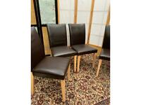 6 x Dining Leather Chairs - Brown