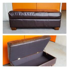 Leather Storage Trunk Puff Bench Ottoman Rectangular