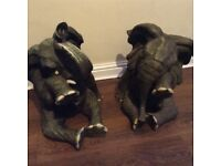 2x large elephant ornaments
