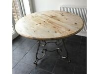 Vintage wood dining table with metal legs