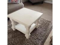 BARGAIN! Pine square coffee table in Shabby Chic effect.