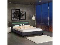 Double King Size Bed Frame LED Light Headboard + Foam Mattress and mattress protector