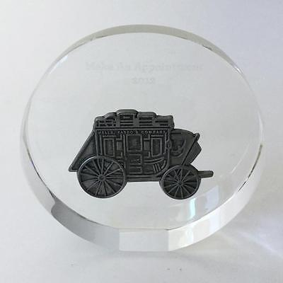 Wells Fargo Bank Stagecoach Glass Paperweight Make An Appointment 2012