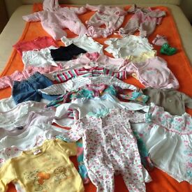 5 xBig bundle baby girl 0-3months and Box of Pampers sensitive Wips for sale