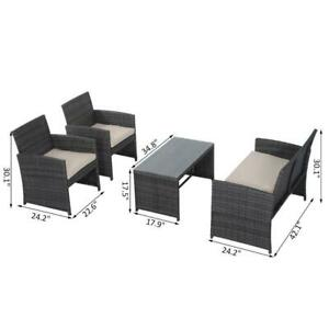 4Pcs Rattan Sofa Set Patio Wicker Furniture Garden Lawn Chair with Table & Cushion / Brand New / Factory Direct