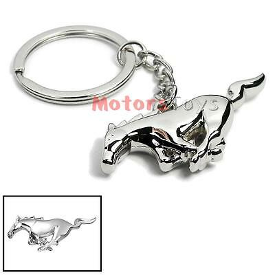 1PC 3D Chrome Silver Pony Horse Keychain Key Chain Fob Ring For Mustang GT 500 Mustang Key Ring