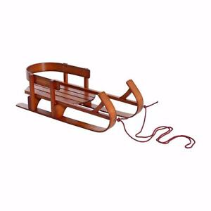 Children's Wooden Sledge Snow Sled Children Wooden Sledge Ski Sliding Snowmobile Baby Sleigh