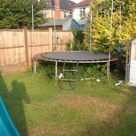 Trampoline- Trampoline itself is in fine shape, but losing poles and netting