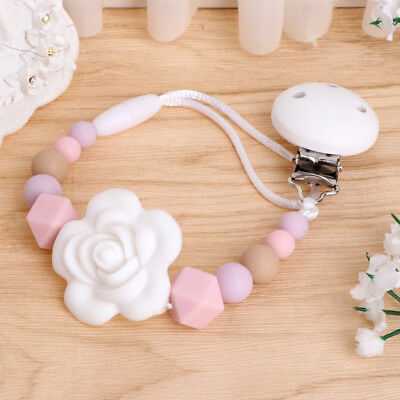 Kids Baby Girl Silicone Chain Clip Holders Pacifier Soother Nipple Leash Strap for sale  Shipping to United States