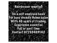 Wanted experienced hair dresser for Cheshire based salon