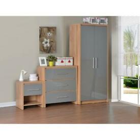 3pc high gloss grey bedroom set new