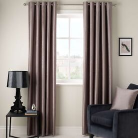 Beautiful John Lewis Faux Silk Pair of Blackout Lined Eyelet Curtains in Mocha