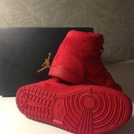 "Nike Air Jordan Retro 1 ""Gym Red"" Suede UK 8 *WORN ONCE*"