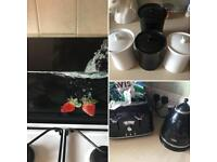 Kettle toaster chopping board and jars