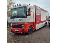 RHD NOT LHD: Renault Magnum AE 430 6X2 26 Ton Mobile shop, fridge freezer box lorry. Renault engine.