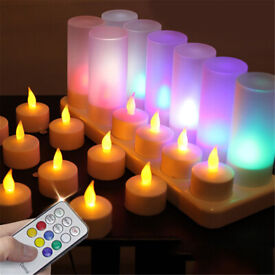 12 flameless LED candle flickering tea lights, remote control, 7 light colours, charging base
