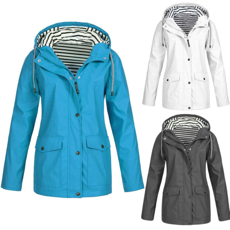 Women Solid Windproof Rain Jacket Outdoor Plus Size Waterpro